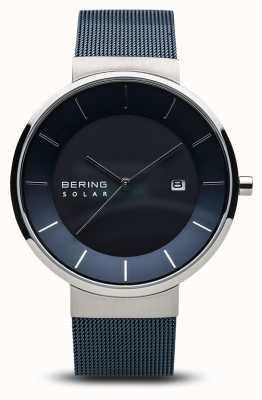 Bering Mens relógio solar, pulseira de malha azul aço inoxidável face azul 14639-307