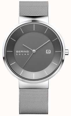 Bering Relógio solar para homem, estojo prateado, bracelete em malha de aço inoxidável 14639-309