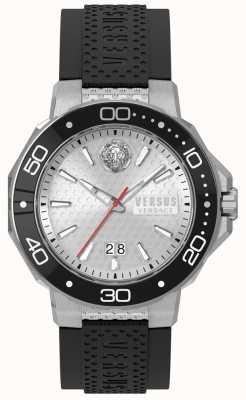 Versus Versace Mens kalk bay prata mostrador preto pulseira de silicone vSP05010018