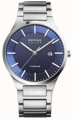 Bering Mens cinta de titânio prata rosto azul solar 15239-777