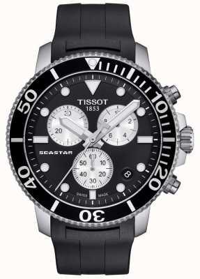 Tissot Mens Seastar 1000 cronógrafo de quartzo preto / pulseira de borracha T1204171705100
