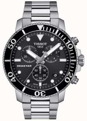 Tissot Mens cronógrafo de quartzo Seastar 1000 preto / aço inoxidável T1204171105100