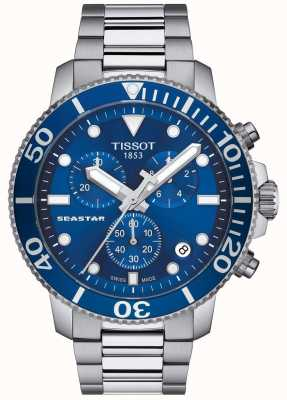 Tissot Mens seastar 1000 cronógrafo de quartzo azul / aço inoxidável T1204171104100