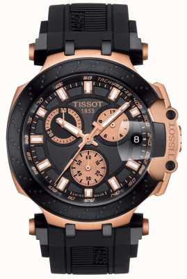 Tissot Masculino t-race quartzo crono mostrador preto com detalhes em banho de ouro T1154173705100
