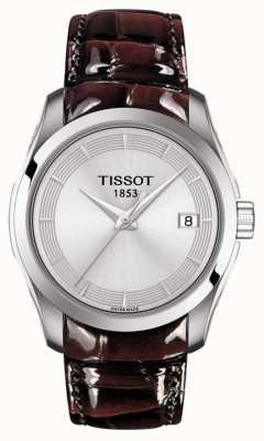 Tissot Mostrador prateado couturier marrom pulseira de couro T0352101603103