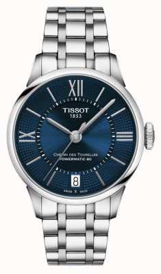 Tissot Chemin des tourelles powermatic 80 aço inoxidável mostrador azul T0992071104800