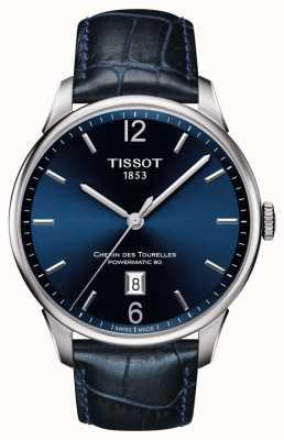 Tissot Mens chemin des tourelles pulseira de couro azul mostrador azul T0994071604700