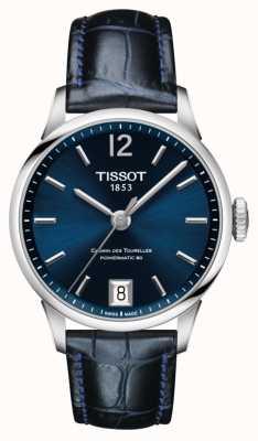 Tissot Chemin des tourelles pulseira de couro azul mostrador azul T0992071604700