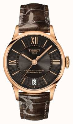 Tissot Womens chemin des tourelles pulseira de couro marrom mostrador preto T0992073644800
