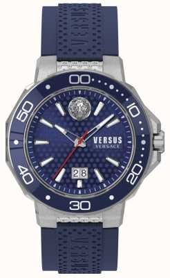 Versus Versace Mens kalk bay pulseira de aço inoxidável mostrador azul VSP05020018