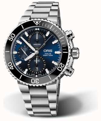 ORIS Aquis data cronógrafo mostrador azul em aço inoxidável 01 774 7743 4155-07 8 24 05 PEB