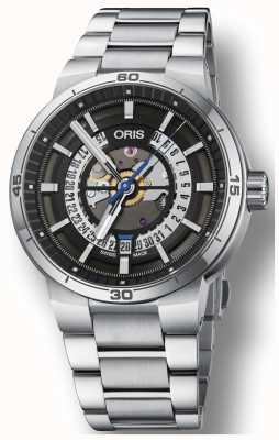 Oris Esqueleto de pulseira de aço inoxidável de data de motor Williams tt1 01 733 7752 4124-07 8 24 08