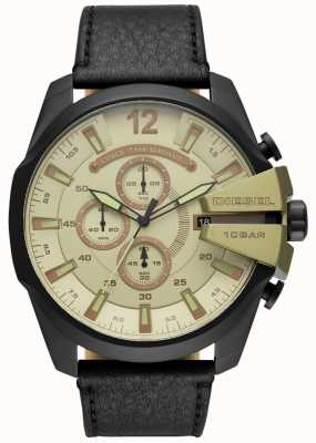 Diesel Mens mega chefe, relógio pulseira de couro preto DZ4495