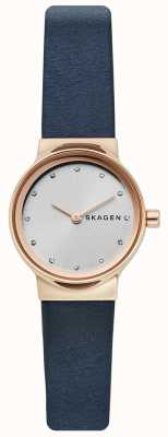 Skagen Senhoras freja assistir, pulseira de couro azul, rosto de prata SKW2744