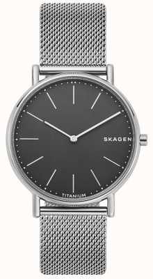 Skagen Mens assinatura pulseira de malha de aço inoxidável mostrador preto SKW6483