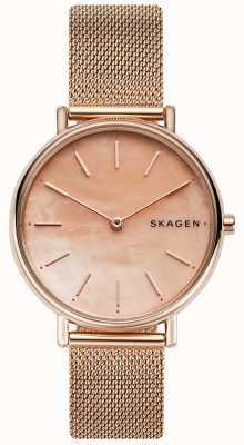 Skagen Senhoras signatur subiu pulseira de aço inoxidável rosa de ouro SKW2732