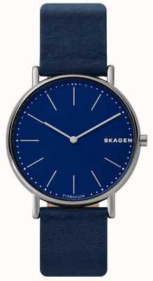 Skagen Mens signatur azul pulseira de couro titânio caso rosto azul SKW6481