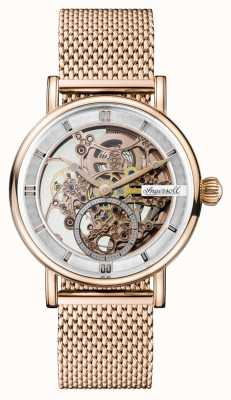 Ingersoll Mens herald automático rosa ouro pvd banhado a malha pulseira I00406