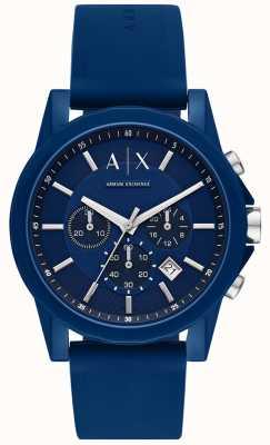 Armani Exchange Mens sport watch gift set   pulseira de silicone azul   AX7107