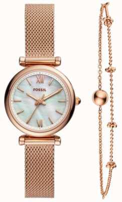 Fossil ladies carlie watch conjunto de presentes ES4443SET