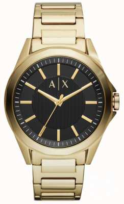 Armani Exchange Mens vestido relógio ouro pvd banhado AX2619