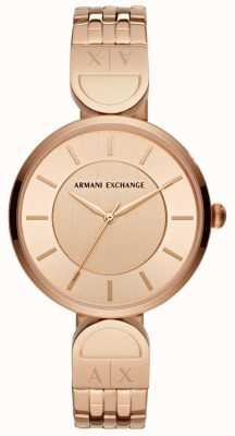 Armani Exchange Senhoras vestem relógio rosa de ouro AX5328