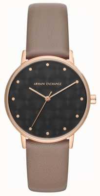 Armani Exchange Armani troca senhoras vestido relógio pulseira de couro marrom AX5553
