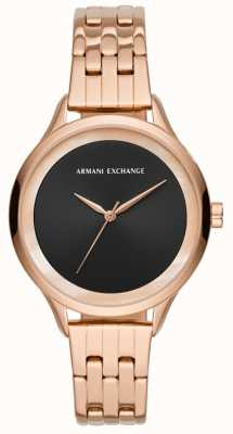 Armani Exchange Senhoras vestem relógio rosa de ouro AX5606