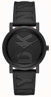 DKNY Senhoras soho assistir pulseira de couro preto NY2783