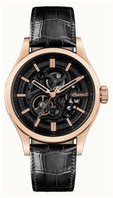 Ingersoll A bracelete de couro preto automático armstrong I06802