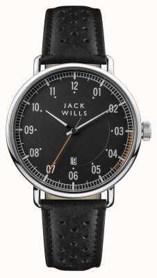 Jack Wills Mens acland preto mostrador preto pulseira de couro JW003BKBK