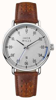 Jack Wills Mens acland prata mostrador pulseira de couro marrom JW003SLBR