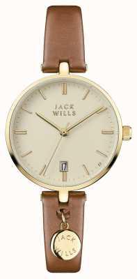 Jack Wills Bracelete de couro marrom para mulher JW005CMGD