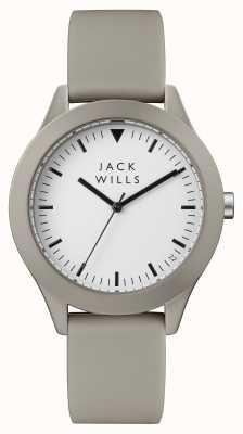 Jack Wills Mens união branco mostrador cinza pulseira de silicone JW009WHGY