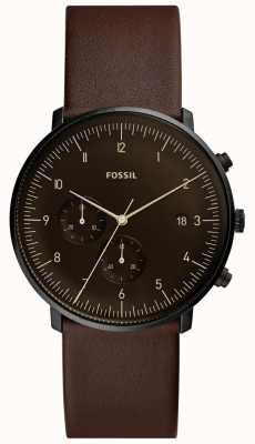 Fossil Mens pulseira de couro marrom caixa de aço inoxidável mostrador marrom FS5485
