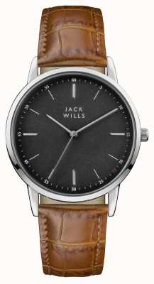 Jack Wills Mens pulseira de couro marrom fortescue black dial JW011BKBR