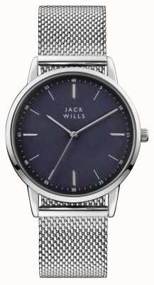 Jack Wills Bracelete de malha de aço inoxidável mens bracelete de aço inoxidável JW011SSBL