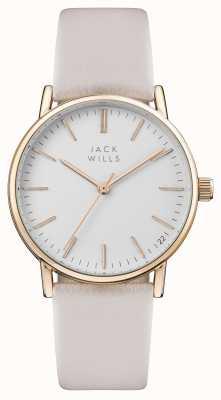 Jack Wills Bracelete de couro rosa para mulher com mostrador branco JW013PKRS