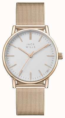 Jack Wills Mostrador branco baga das mulheres subiu pulseira de malha de ouro pvd JW013RSRS
