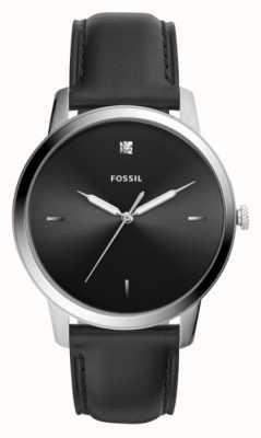 Fossil Mens pulseira de couro preto caixa de aço inoxidável mostrador preto FS5497