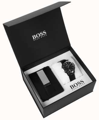 Hugo Boss Caixa de mens set dinheiro clip clássico preto dial couro preto 1570065