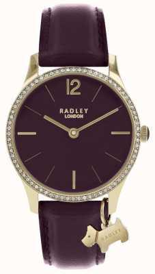 Radley Senhoras assistem caso de ouro pulseira de couro roxo RY2708