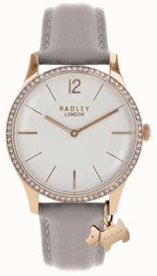 Radley Senhoras assistem caso de ouro rosa pulseira de couro cinza RY2702