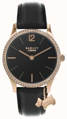 Radley Senhoras relógio de cetim preto RY2704