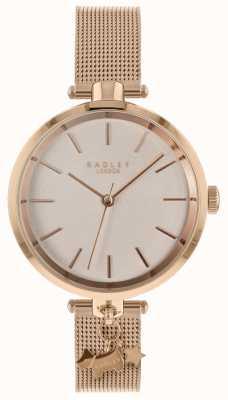 Radley Senhoras rosa ouro relógio de malha RY4364