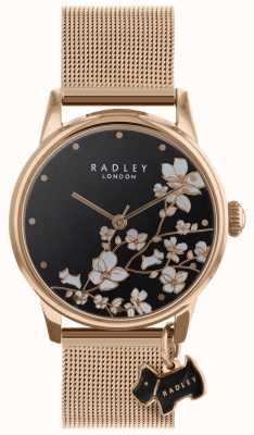 Radley Senhoras relógio arrastando flor malha cinta preta discagem RY4346