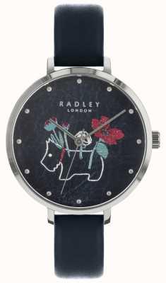 Radley Senhoras floral e cão imprimir relógio preto RY2681