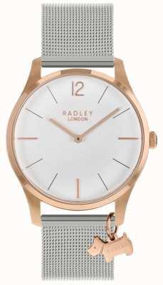Radley Relógio de senhora | caixa de ouro rosa | cinta de malha de aço inoxidável | RY4355