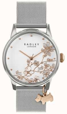 Radley Senhoras assistem pulseira de malha de prata mostrador branco RY4347