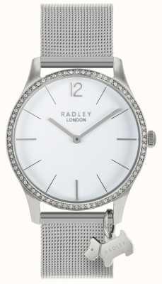Radley Senhoras cristais swarovski mostrador branco de aço inoxidável RY4353